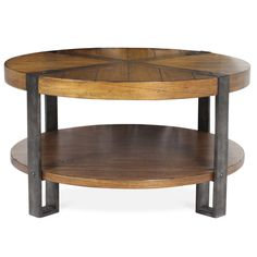 Mindi veneer, gorgeous wood, and metal create an interesting mix of materials for this circular coffee table. With the perfect lower shelf for your books and magazines, you can't go wrong incorporating this into your living room décor. Metal straps on the top panel seal the deal, making this table strong, durable, and ready to last in your home for generations.