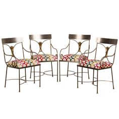 Vintage Set Four Italian Steel, Brass Armchairs c.1940 | From a unique collection of antique and modern armchairs at https://www.1stdibs.com/furniture/seating/armchairs/
