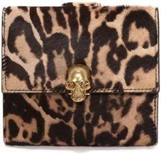 ALEXANDER MCQUEEN Brown Leopard Pony Short Skull Wallet - Lyst