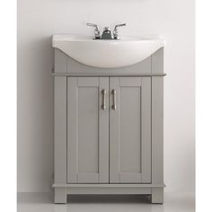 W Traditional Bathroom Vanity In Gray With Ceramic Top
