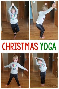 Kids Christmas Yoga Pose Ideas | Pink Oatmeal Physical Activities For Kids, Gross Motor Activities, Christmas Activities For Kids, Preschool Christmas, Toddler Christmas, Infant Activities, Preschool Activities, Preschool Yoga, Movement Activities