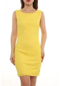 Doppel Look Spitzen Sommerkleid Gelb Kurz
