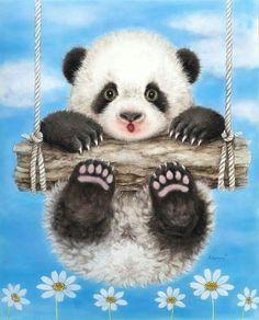 Diamond Embroidery Diamond Mosaic Pictures of Panda Embroidery with diamonds Diamond Painting Cross-Stitch 47 Cross Paintings, Animal Paintings, Animal Drawings, Drawing Animals, Canvas Paintings, Illustration Mignonne, Cute Illustration, Cartoon Mignon, Panda Mignon