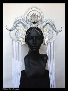 MADE TO ORDER Ice Queen Faux Feather Headdress by MissGDesignsShop, $550.00
