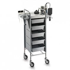 Kappa Steel Color Brush - #trolley for #hairdresser with #steel top. On its sides slots for bowls, brushes, iron, aluminum foil pipe.  #Artecno design and production.