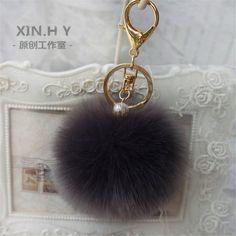 Pom Pom Fur Key Chain Fashion 8cm Fluffy Fur Ball Car KeyChain Gold Tone Women Bag Key Ring Charm Pearl Wedding Trinket Jewelry