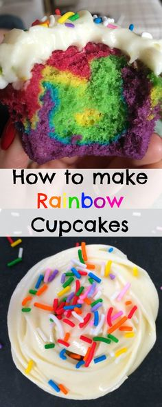 You CAN make homemade Rainbow Cupcakes with this easy recipe and tutorial! Delicious vanilla rainbow cupcakes topped with yummy Cream Cheese Frosting. I know how much you all love my Rainbow Cake &… Rainbow Cupcakes Recipe, Fun Cupcakes, Rainbow Cakes, Wedding Cupcakes, Nutella Cupcakes, Wedding Cake, Cupcake Recipes From Scratch, Recipe From Scratch, Cupcake Recipes For Kids