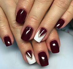 Burgundy Nail Designs, Classy Nail Designs, Fall Nail Art Designs, Burgundy Nails, Fabulous Nails, Perfect Nails, Gorgeous Nails, Pretty Nails, Shellac Nails