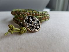 Green jasper Boho wrap bracelet by KylesStyles on Etsy