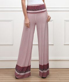 Loving this Red Mosaic High-Waist Palazzo Pants on #zulily! #zulilyfinds