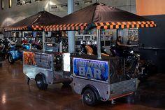 Custom Harley Carts - one bar cart and one hot dog cart Hot Dog Cart, Custom Harleys, Food Truck, Street Food, Bar Cart, Hot Dogs, Monster Trucks, Motorcycle, Street Style