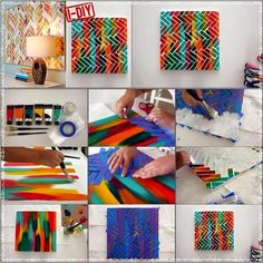 DIY canvas painting with tape Diy And Crafts Sewing, Arts And Crafts, Diy Crafts, Crafts For Teens, Craft Tutorials, Craft Videos, Diy Wall, Wall Art, Diy Painting