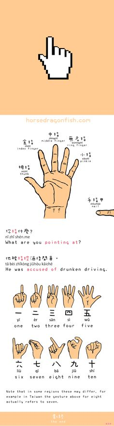 A short Chinese lesson on the finger names plus the Chinese hand gestures for numbers.