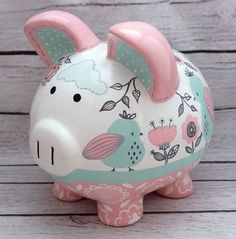 Whimsical Floral Birds Personalized Piggy bank in Peach, Mint and Charcoal Hand Painted Ceramics, Porcelain Ceramics, Pig Bank, Personalized Piggy Bank, Mini Pigs, Cute Piggies, Pottery Painting, Custom Items, Baby Shower Gifts