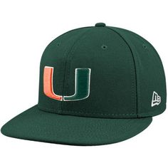 New Era Miami Hurricanes Green 59FIFTY Fitted Hat 85654c9c4d4f