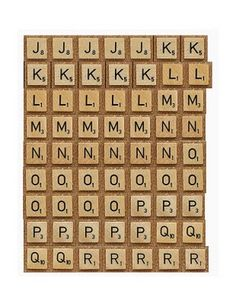 Printable Scrabble letters J to R