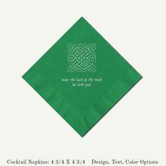 Green Cocktail Napkins Celtic Knot Irish Theme by PineAndBerryShop