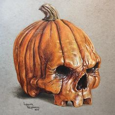 Pumpkin-skull finished for Halloween  With Prismacolor Premier colored pencils on Strathmore Toned Gray paper ✍