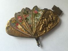 Super Rare Antique Vintage Brass Avery Fan Needle Case Sewing Tool Cherub