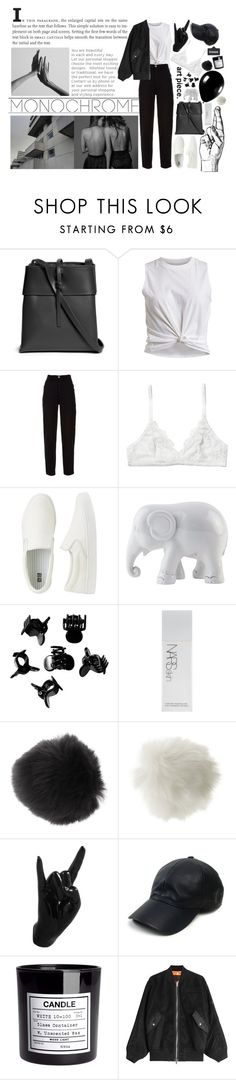 """Monochrome is just me,myself and i"" by pgrndjn ❤ liked on Polyvore featuring Kara, VILA, Alexander McQueen, Chanel, Monki, Uniqlo, The Elephant Family, H&M, NARS Cosmetics and Miss Selfridge"