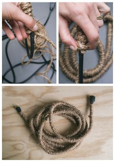 Hide that eyesore extension cord by wrapping it with jute!
