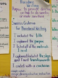 Procedure writing success criteria Procedural Writing, Paragraph Writing, Learning Targets, Learning Goals, Writing Lessons, Teaching Writing, Cups Writing, Visible Learning, 3rd Grade Writing