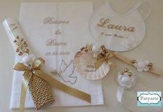 """Kit de batizado """" Pomba"""" para a Laura. Vela formato oval Caixinhas com mini terços para os convidados Bolsa com moldu..."""