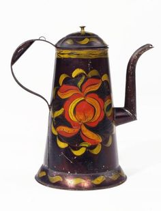 """Artist unidentified, """"Coffee Pot"""", Probably Pennslyvania, Early 19th Century, Paint on tinplate, 11 x 3 3/4 x 6 1/2 in., Collection American Folk Art Museum, New York, Gift of the Historical Society of Early American Decoration, 70.3.5. American Decor, Early American, Historical Society, Clay Pots, Art Museum, Folk Art, 19th Century, Objects, York"""