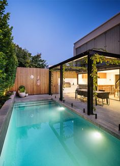 Combining a modern outdoor living space with a refurbished in ground concrete swimming pool. Swimming Pool Landscaping, Small Backyard Pools, My Pool, Swimming Pools Backyard, Swimming Pool Designs, Garden Pool, Outdoor Pool, Pool Cabana, Green Garden
