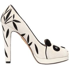 CHARLOTTE OLYMPIA 120mm Mei Xiang Velvet Panda Pumps - White ($430) ❤ liked on Polyvore featuring shoes, pumps, heels, white, charlotte olympia, white pumps, white heel shoes, white shoes and high heel shoes