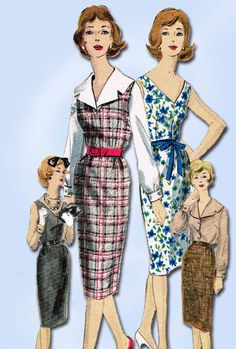 """Vogue Pattern 5037 Misses' Sheath Dress or Jumper Pattern Dated 1960 Complete Nice Condition Uncut but Not Factory Folded 12 of 12 Pieces Nice Condition Overall Size 14 (34"""" Bust)"""