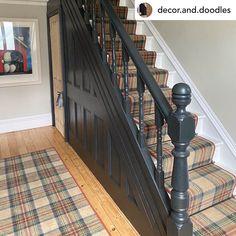 Tartan Stair Carpet, Carpet Stairs, Carpet Flooring, House Staircase, Staircase Remodel, Edwardian Hallway, Axminster Carpets, Hallway Colours, Hallway Designs