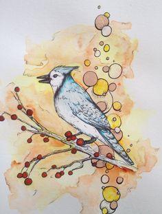 "Bluejay Watercolor Illustration, Framed or Unframed Nature illustration, Titled ""Bluejay Fly Away"" by ArdentPrints on Etsy"