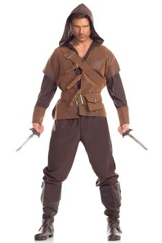 Rogue Ninja Mens Adult Brown Secret Spy Warrior Halloween Costume-Std