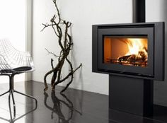 Uniq 32 Freestanding Inset Stoves, Contemporary, Modern, Freestanding Stoves, Home Appliances, Woodburning, Pedestal, Fireplaces, Interior