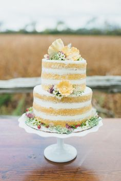 Yellow naked cake: http://www.stylemepretty.com/canada-weddings/ontario/2015/01/05/bohemian-inspiration-shoot-3/ | Photography: LV Imagery - http://www.lvimagery.ca/