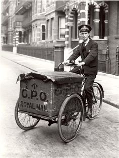K4RGO - Vintage, Royal mail tricycle . .I HOPE YOU'LL FOLLOW ANY OF MY 5 GREAT BOARDS CONCERNING THE POST OFFICE MAILMEN VEHICLES MAILBOXES AND OTHER THINGS