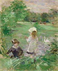 En la orilla del lago, 1883 - por Berthe Morisot. (La primera mujer que se unió al Impresionismo).