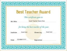 Best teacher award certificate template doc award best teacher award certificate template doc award awardcertificate bestteacheraward award certificate teacher pinterest certificate templates and yadclub Image collections