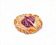 Raspberry Danish - ORIGINAL Painting (Still Life, Kitchen Wall Art, Watercolour Food Illustration) 8x10