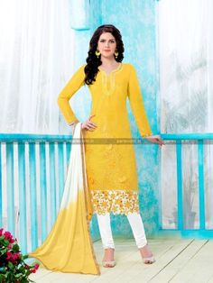 Yellow Glass Cotton Casual Salwar Kameez