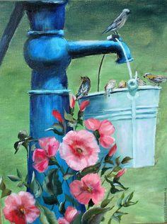 Oil painting / Пейзаж ручной работы. Ярмарка Мастеров - ручная работа. Купить Водопой. Handmade. Комбинированный, картина для интерьера, картина на холсте