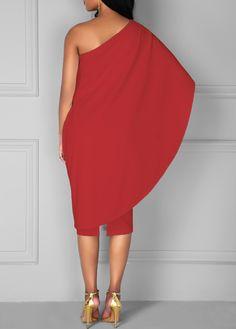 Red Batwing Sleeve One Shoulder Sheath Dress | liligal.com - USD $34.90