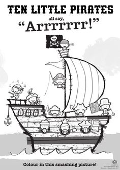 Ten Little Pirates Colouring Page--- Count and Colour 10 Pirates.
