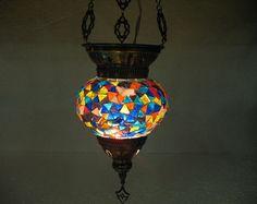 Moroccan lantern mosaic hanging lamp glass chandelier light lampe mosaiqe hng 16 #Handmade #Moroccan