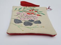 Flower design pouch, Hand drawn clutch with strap, Canvas zipper pouch, Present for her, CUte wristllet, Small purse, Red suede bag Presents For Her, Hand Drawn Flowers, Handmade Jewelry, Handmade Gifts, Craft Items, Zipper Pouch, Flower Designs, Wristlets, Cotton Canvas