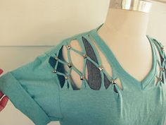 WobiSobi: No Sew, Lattice, Stud T-shirt DIY.   Great ideas for redesigning tees....   really, cute and artistic, beautiful!