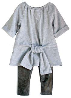 Lindsey Berns #kids Tied Grey Sweatshirt Dress & Distressed Leather Leggings