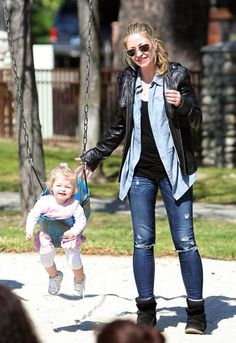 Actress Rebecca Gayheart and two daughters Billie and Georgia seen spending the day together at the Coldwater Playpark in Beverly Hills