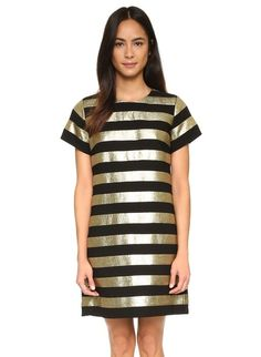 Metallic Striped Mini Dress